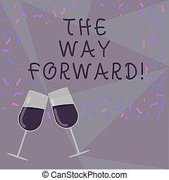 direção, brindar, sucesso, mantenha, texto, mostrando, disperso, celebração, estratégia, movimento, vidro, photo., ir, vinho, confetti, maneira, foto, conceitual, forward., enchido, sinal
