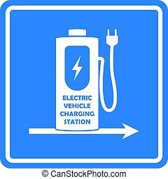 direção, carro elétrico, ou, vetorial, vehicle., template., estação, sinal, encarregando, estrada