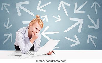 direção, conceito, negócio, sentando, pessoa, escrivaninha