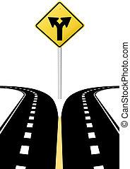 direção, decisão, setas, sinal, futuro, escolha, estrada