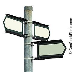 direção, em branco, isolado, sinal