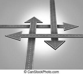 direção, escolher