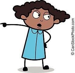 direção, escritório, apontar, mostrando, -, ilustração, vetorial, pretas, retro, menina, caricatura