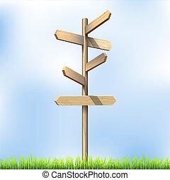 direção, estrada, madeira, sinais