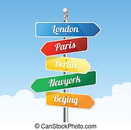 direção, estrada, signs., europa