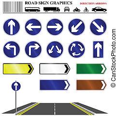 direção, estrada, sinal seta