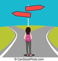 direção, estudante, escolha