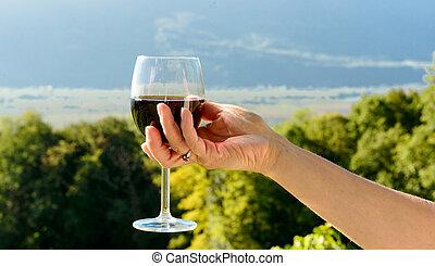 direção, exposto, sol, vidro vinho vermelho