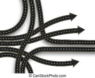 direção, junction., marking., movement., ilustração, stylized, rodovia, shadow., estrada, 3d