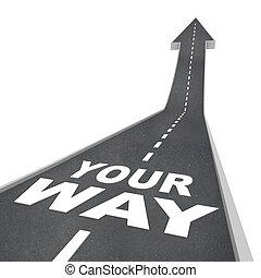 direção, maneira, em movimento, seta, expedir, seu, estrada
