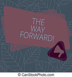 direção, megafone, triangulo, sucesso, negócio, foto, mostrando, dentro, estratégia, movimento, ir, mão, maneira, texto, conceitual, announcement., escrita, forward., retângulo, mantenha