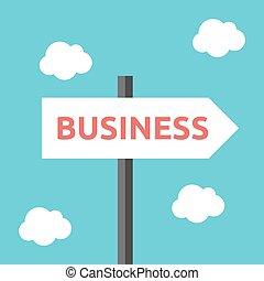 direção, negócio, sinal estrada