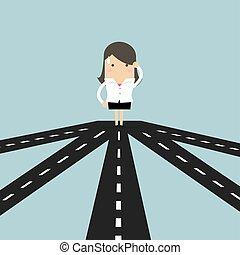 direção, negócio, sucesso, executiva, strategy., futuro, escolher, crossroad, ou