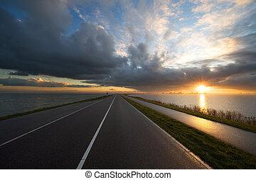 direção, pôr do sol, estrada