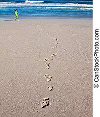 direção, pegadas, interruptores, ir, criança, praia