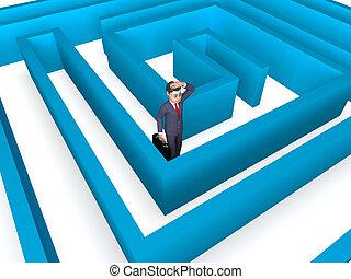 direção, perdido, fazendo, empresários, confundir, indica, homem negócios, 3d