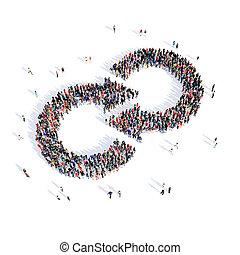 direção, pessoas, seta, 3d