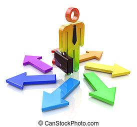 direção, pessoas, -, sinal, pessoa, way., escolher, arrows., homem, 3d