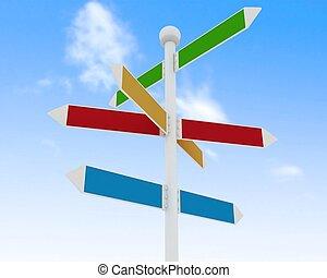 direção, sinais estrada, ligado, céu azul, fundo
