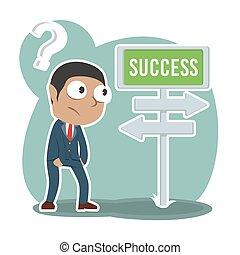 direção, sucesso, confundir, africano, homem negócios, estrada