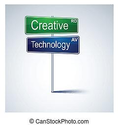 direção, tecnologia, sinal., estrada, criativo
