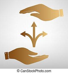 direção, three-way, sinal seta