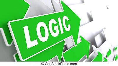 direção, verde, sinal., seta, lógica