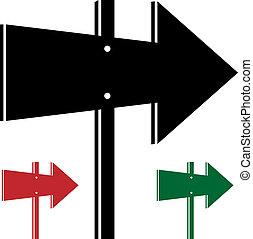 direção, vetorial, setas, 3d