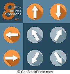 direções, oito, tudo, setas