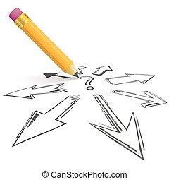 direções, pergunta, tudo, setas, lápis