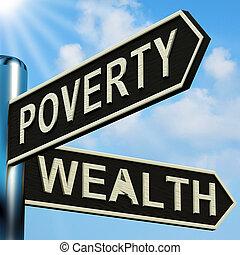 direções, signpost, miséria, riqueza, ou