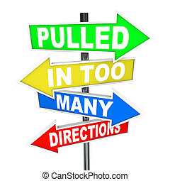direções, tensão, puxado, ansiedade, muitos, sinais