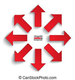 direções, tudo, setas, vermelho