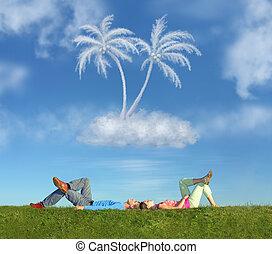 dire bugie, coppia, su, erba, e, sogno, isola, collage