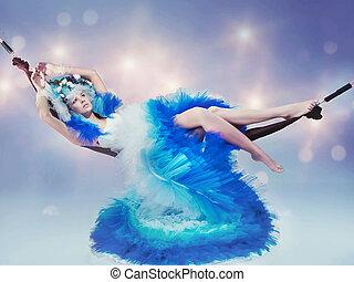 dire bugie, donna, il portare, vestito blu