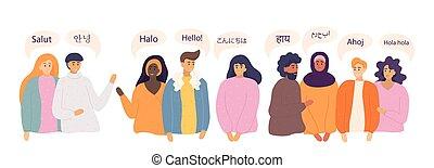 dire, gens, vecteur, langues, salut, différent, illustration.