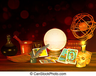 dire, tarot, fortune, cartes
