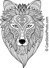 Zendoodle design of dire wolf face for T-Shirt design, tattoo, coloring book page and other design element.