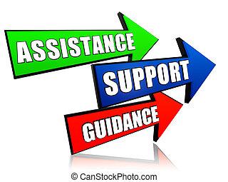 dirección, apoyo, flechas, ayuda