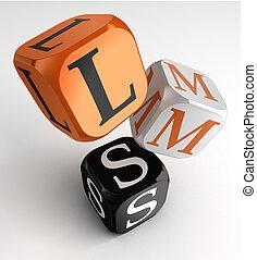 dirección, bloques, dados, siglas, lms, sistema, negro,...