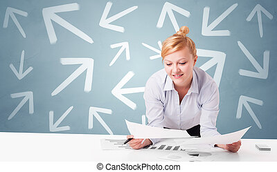 dirección, concepto, empresa / negocio, sentado, persona, escritorio