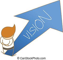 dirección, empresa / negocio, pensamiento, carácter, ir, caricatura, hombre
