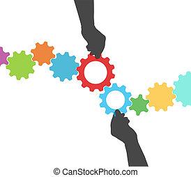 dirección, engranaje, gente, proceso, manos, tecnología