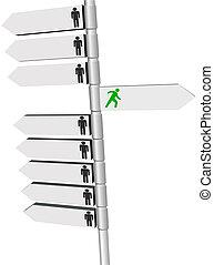 dirección, gente, punto, señales, poste, cambio