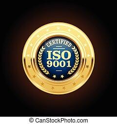 dirección, medalla, -, estándar, iso, 9001, calidad
