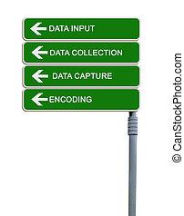 dirección, muestra del camino, a, datos la entrada
