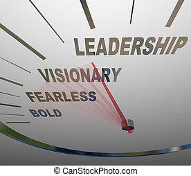 dirección, negrita, intrépido, liderazgo, velocímetro, ...