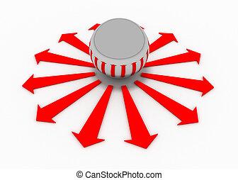 dirección, pelotas, flecha