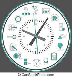 dirección, reloj de tiempo