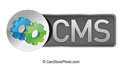 dirección, sistema, contenido, concepto, gears., cms